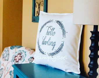 Hello darling 20x20 pillow cover