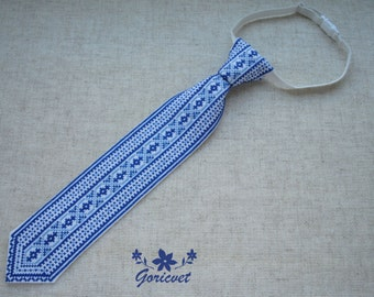 Blue tie gift for Kids gifts for baby Birthday gift for boy toddler clothes Ukrainian gift folk art hand embroidered gift Unique necktie
