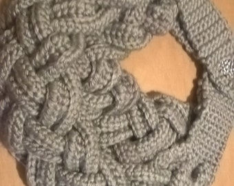 Light Grey Braided Scarf