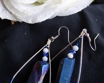 Blue Teardrop Crystal Earrings