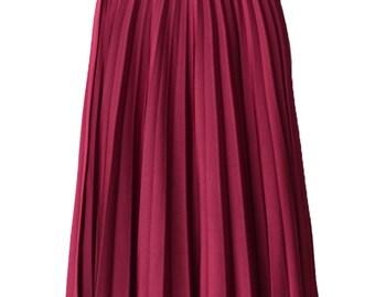 CRANBERRY Flare Jersey Pleated Maxi Skirt | Modest Long Skirt | Islamic Clothing S M L XL 2XL 3XL