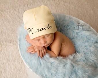 Yellow newborn name hat - Miracle newborn baby hat - gender neutral newborn hat - new baby hat - take home hat - newborn photo prop hat