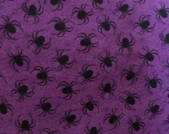 Halloween Fabric/ Deep Purple with Spiders/Cotton/By the Yard