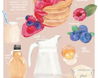 Illustrated Recipe Illustrated Food Mixed Berry Pancakes Recipe Illustration Print