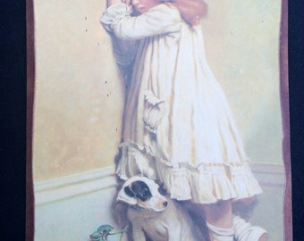 In Disgrace (by Charles Burton Barber) Vintage Giclee Print Mounted on Wood. ROP0159