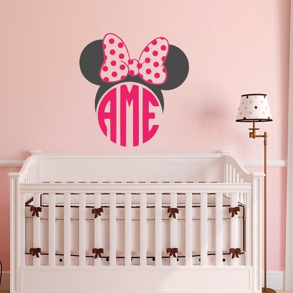 minnie mouse monogram wall decal girls monogram wall decal. Black Bedroom Furniture Sets. Home Design Ideas