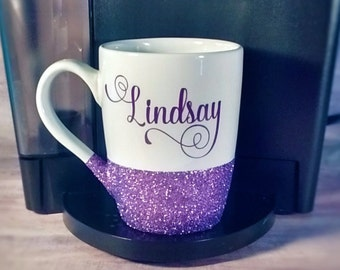 Personalized Coffee Mug - Custom coffee mug - glitter coffee mug
