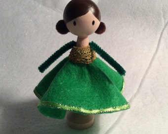 Holiday Clothespin Doll Ornament
