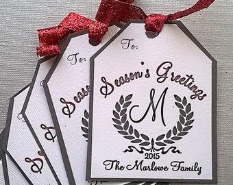 Christmas Gift Tags,Monogram Wreath, custom name, Season Greetings, Download printable