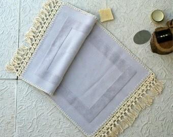 Gray bath mat,Ecru,Bathroom mat,Handmade mat,Bath rug,Bathroom decor,Bathroom rug,Gray,100% Cotton,Bathroom accessories