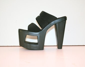 US 7 / UK 5 / 90s Black Platform Chunky Art Cutout Heels Strappy Platforms Jante Stripper Party Clubbing Shoes