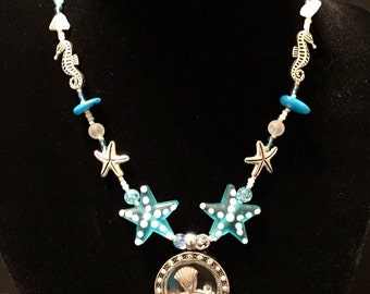 Handmade jewelry beaded necklace blue seashell womens girls necklace pendant necklace lampwork beads