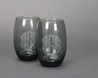 initials wine glass etsy