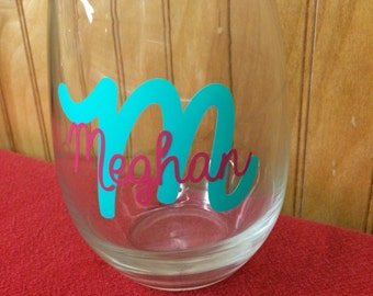 Personalize Name and Initial Wine Glass