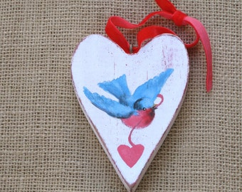 Wood Heart Ornament, White Wooden Heart Ornament with Hand-painted Bluebird, White Heart Ornament with Bird, White Valentine Heart