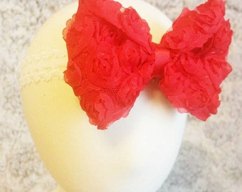 Handmade Red Rose Lace Bow With White Baby Headband