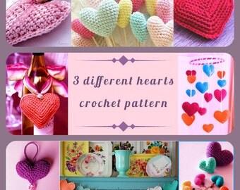 PDF Pattern, Crochet Heart, 3 different hearts, Home Decor, Amigurumi Hearts, Instant Download, PDF Pattern English,Valentines Day DIY