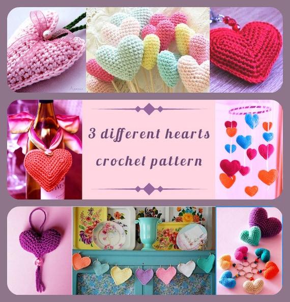 PDF Pattern Crochet Heart 3 Different Hearts Home Decor