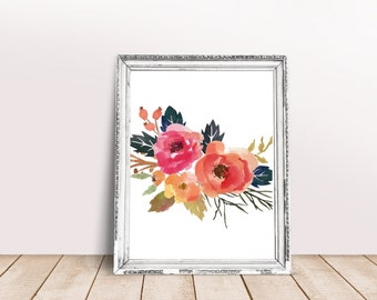 Floral Print Digital Wall Art Flower Printable Frame Art Home Decor Wall Decor Teen Decor Instant Download 5x7 8x10 11x14