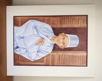 Watercolor painting of an old asian man