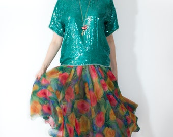TURQUOISE SEQUIN BLOUSE