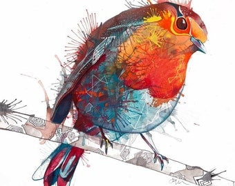 Robin painting -  'THE SCARLET PIMPERNELL' -  Signed & mounted giclee print