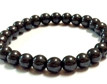 Genuine Hematite Yoga Mala Bracelet - Natural Spirited Stones Bracelet - Abundance - Healing Stones Bracelet - Stretch Bracelet - Handmade