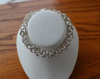 Sterling Silver Inverted Round Maille Bracelet
