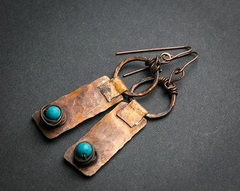 Long earrings Tribal earrings Geometric earrings Hammered earrings Turquoise jewelry Vintage jewelry Patina earrings Bohemian earrings Boho