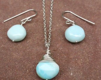 Opal Necklace And Earring Set Peruvian Opal Something Blue Sterling Silver Opal Jewelry October Birthstone