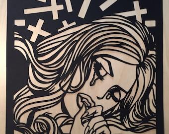 Sad Vampire Girl on cut paper