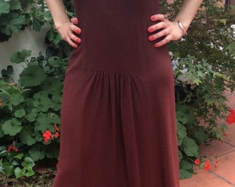 Ossie Clark Authentic Vintage Brown Crepe Dress Plunging Neckline Maxi Long Gown