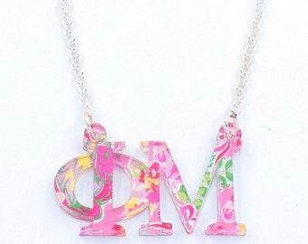 Phi Mu Floating Necklace