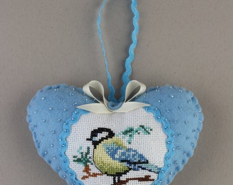 Valentine's day blue felt heart  titmouse bird cross-stitched beads decorated, set of 2