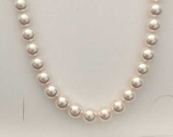 Swarovski Crystal Pearl Necklace White Pearl Ivory Pearl Wedding Bridal Necklace