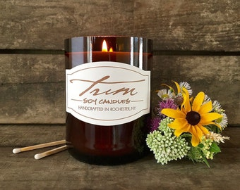 Summer Candle, Wine Bottle Candle, Wildflowers, Fresh Cut Grass, Repurposed Bottle, Natural Candle, Soy Wax, Hand Poured, Summer Wine Gifts