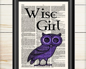 Percy Jackson, Wise Girl, Owl Print, Dictionary Print, Wall Art Print, Mark Of Athena, Nursery Print, 053