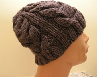 thick yarn hat with braids