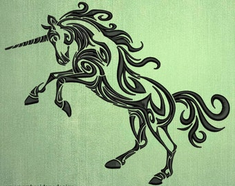 Attacking vintage unicorn embroidery design