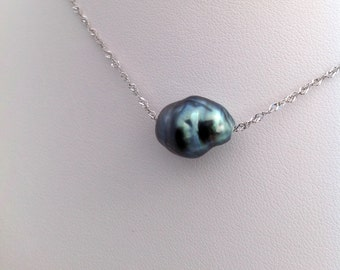 On Sale! 20% Off - Large 14mm Baroque Tahitian South Sea Pearl Floating on a 925 Sterling Silver Chain