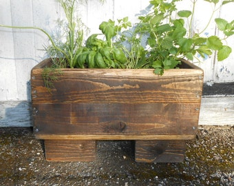 Hand Crafted Shabby Chic Reclaimed Wood Herb Planter