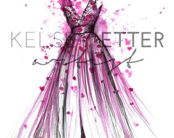 INSTANT DOWNLOAD Fashion Illustration- Heart Gown