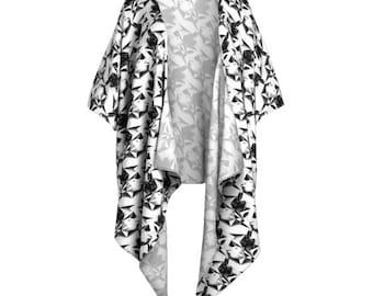 Rabbit Print Kimono Wrap - Kimono, Beach Coverup, Fringed Kimono, Boho Kimono, Wrap, Shawl, Rabbits, Black and White, White Rabbit