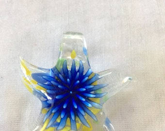 Blue and Yellow  Star  Lampwork Glass Pendant