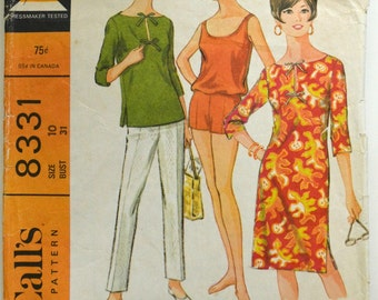 Uncut 1960s McCall's Vintage Sewing Pattern 8331, Size 10; Misses' Beach Dress or Top, Pants, and Bathing Suit