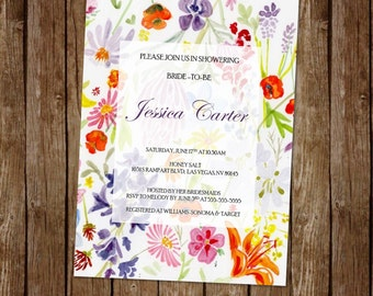Wildflower Bridal Shower Invitation | Floral | Pink | Purple | Orange | Yellow | Bride| Bridal Shower | Printable Invitation | Customizable