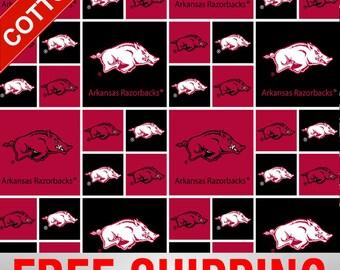 "University of Arkansas Cotton Fabric Razorbacks NCAA 45"" ARK-020 Wide Free Shipping"