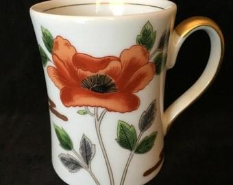 Fitz and Floyd, Poppy pattern mug