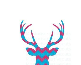 Chevron Deer Head Buck  SVG   cut file  t-shirts  animals wild life forest Huntingscrapbook vinyl decal wood sign t shirt cricut cameo