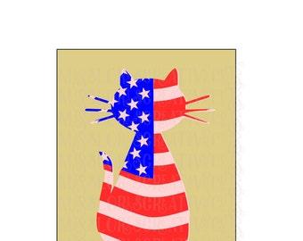 Flag Cat Patriotic   3 SVG Cut file  Cricut explore file 4th of July t shirt decalscrapbook vinyl decal wood sign t shirt cricut cameo